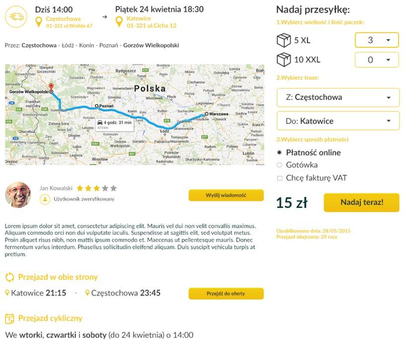 Wyniki wyszukiwania ofert przewoźników w PickPack Wyniki wyszukiwania ofert przewoźników w PickPack /materiały promocyjne