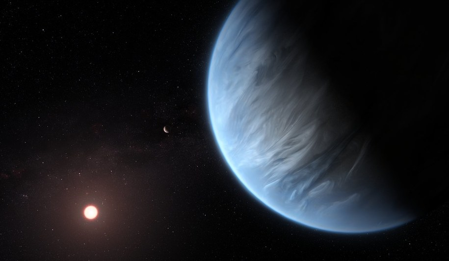 Wyobrażenie planety K2-18b, krążącej wokół swojej gwiazdy /ESA/Hubble, M. Kornmesser /Materiały prasowe