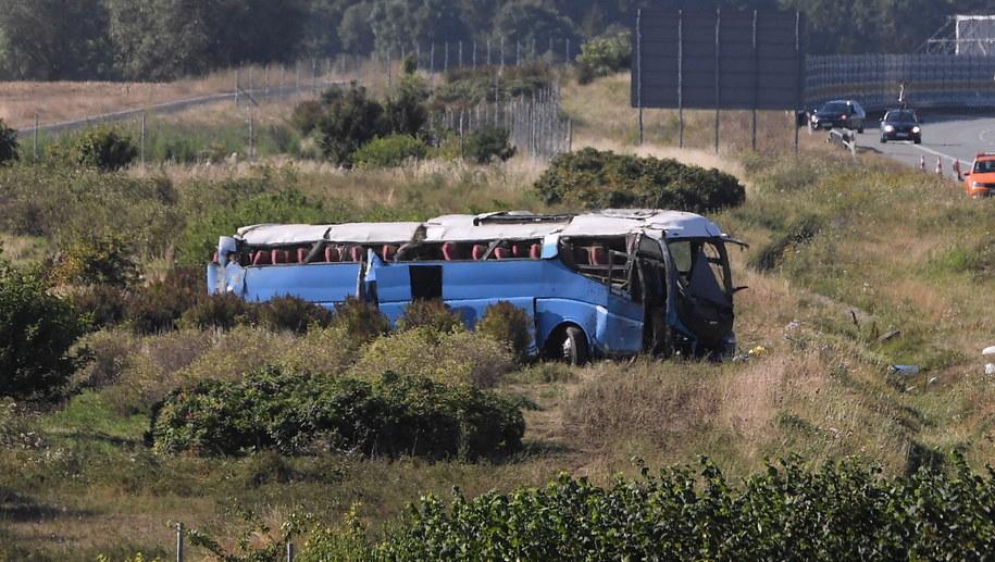 Wypadek autobusu /Marcin Gadomski /PAP