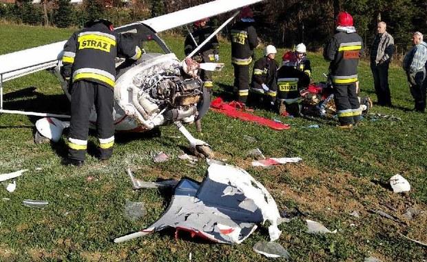 Wypadek awionetki w Skawie. Jedna osoba ranna