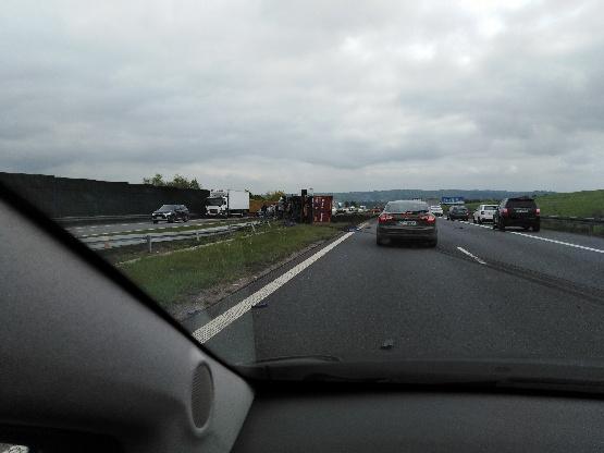 Wypadek ciężarówki na A4 /pan Jan /Gorąca Linia RMF FM