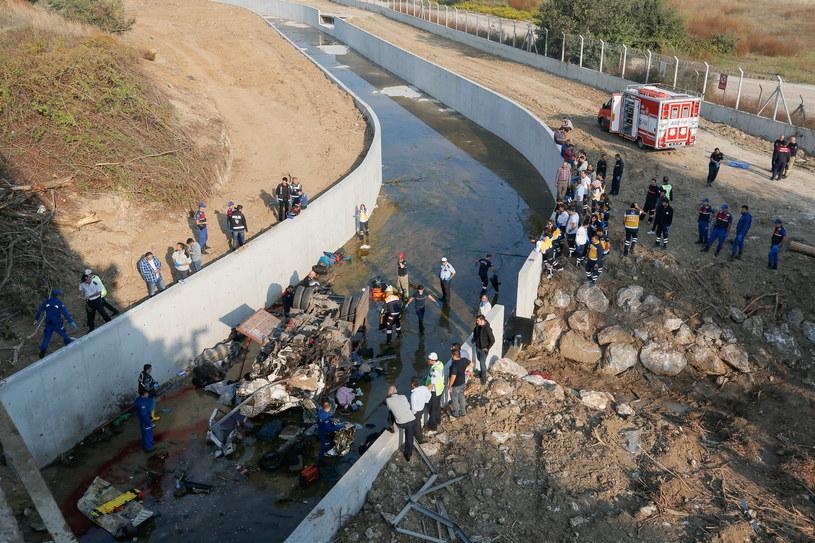 Wypadek ciężarówki z migrantami w Turcji /PAP/EPA