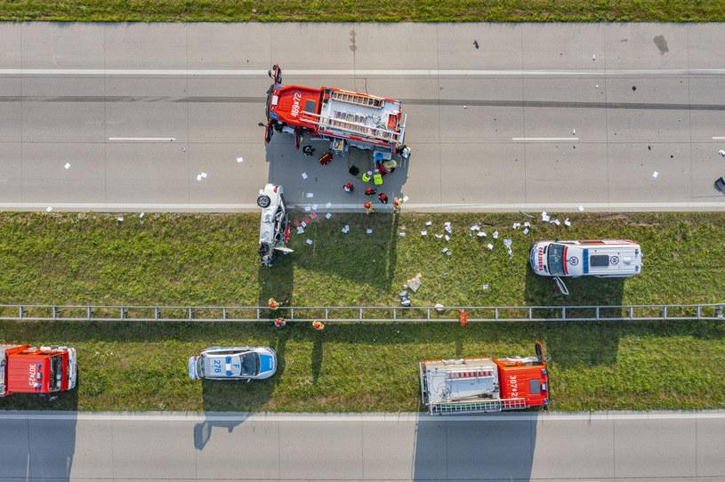 Wypadek na autostradzie A1 /Robert Neumann /Agencja FORUM