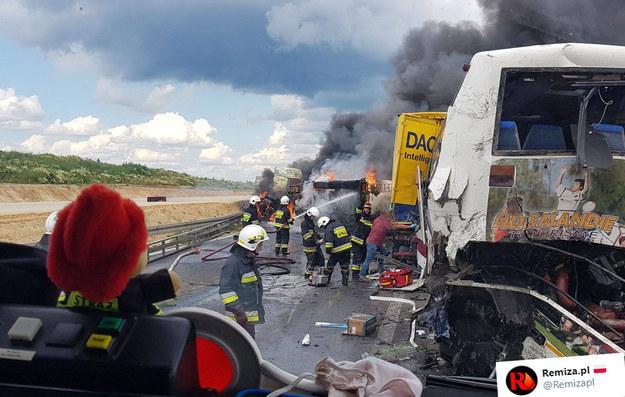 Wypadek na DK1  w Bogusławicach /Twitter /