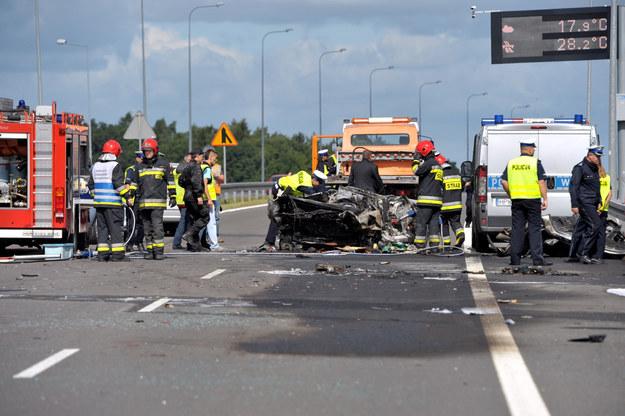 Wypadek na drodze S3 w okolicy Wysokiej Gryfińskiej, zginęły trzy osoby /Marcin Bielecki /PAP