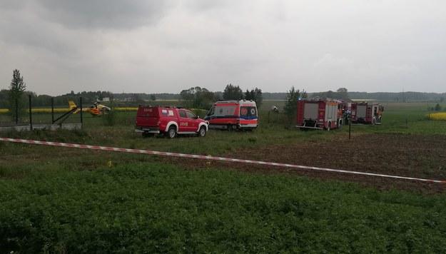 Wypadek śmigłowca w Sokołowie Podlaskim. Dwie osoby ranne