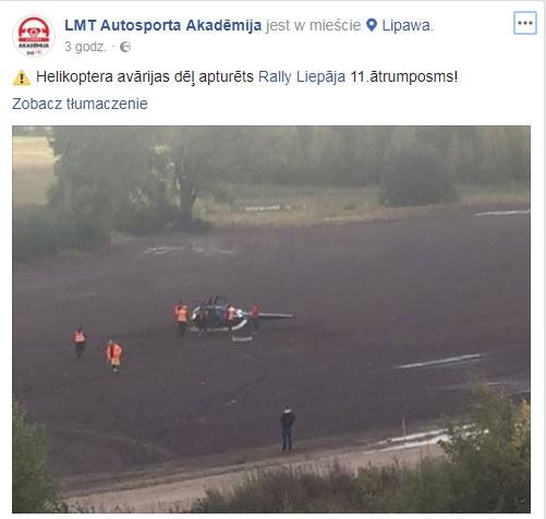 Wypadek śmigłowca /LMT Autosporta Akadēmija /facebook.com
