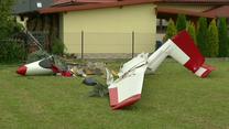 Wypadek szybowca w Krośnie. Maszyna przy lądowaniu zahaczyła od drzewo i słup energetyczny