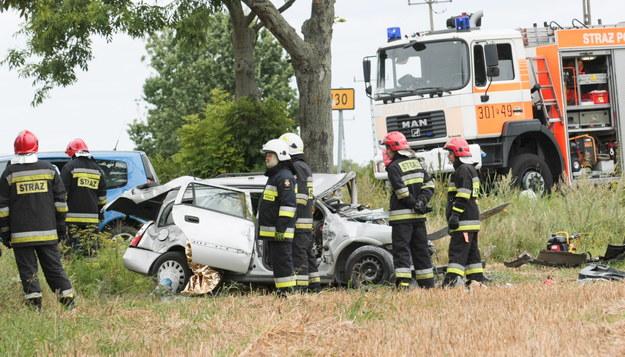 wypadek w Marwicach /Lech Muszyński /PAP