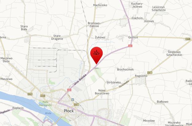 Wypadek w miejscowości Tchórz pod Płockiem /Map24.interia.pl