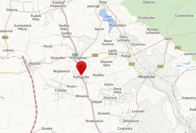 Wypadek w Rzeniszowie /Map24.interia.pl