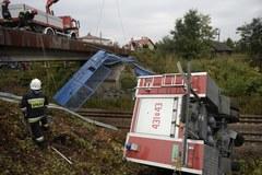 Wypadek wozu strażackiego w Jarosławiu