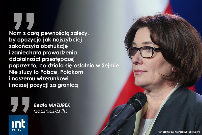 Wypowiedź Beaty Mazurek /INTERIA.PL