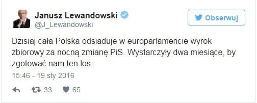 Wypowiedź Janusza Lewandowskiego na Twitterze /Twitter