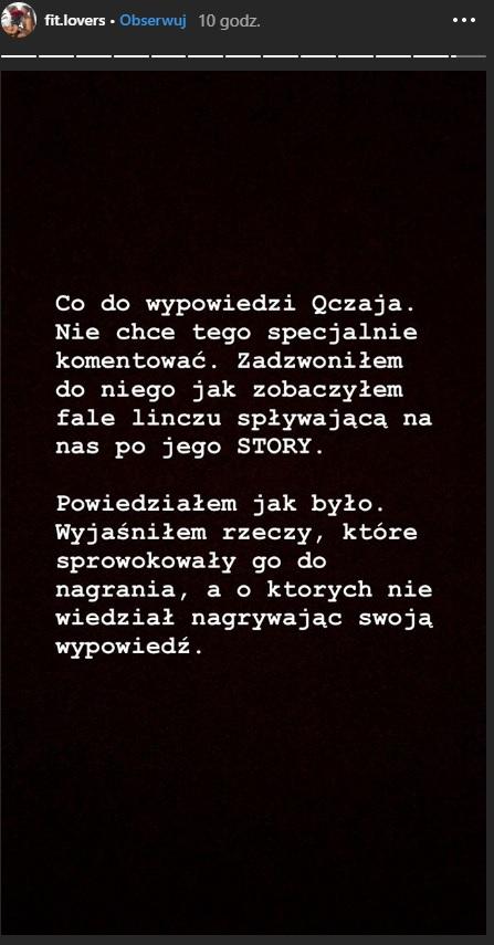 """Wypowiedź Mateusza Janusza z """"Fit Lovers"""" /Instagram /Instagram"""