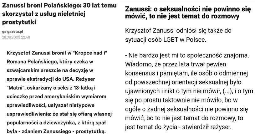 Wypowiedzi Krzysztofa Zanussiego https://twitter.com/PanZolty /Twitter