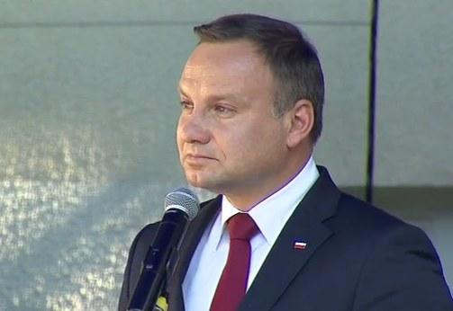 Wyraźnie wzruszony Andrzej Duda /Polsat News /