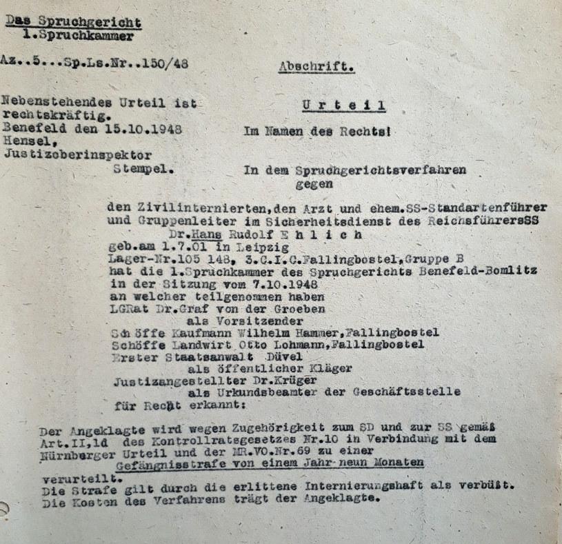 Wyrok sądu z 1948 r. skazujący Hansa Ehlicha na na rok i dziewięć miesięcy więzienia. Źródło: Niedersächsisches Landesarchiv - WO 3 Nds Nr. 206 /Deutsche Welle