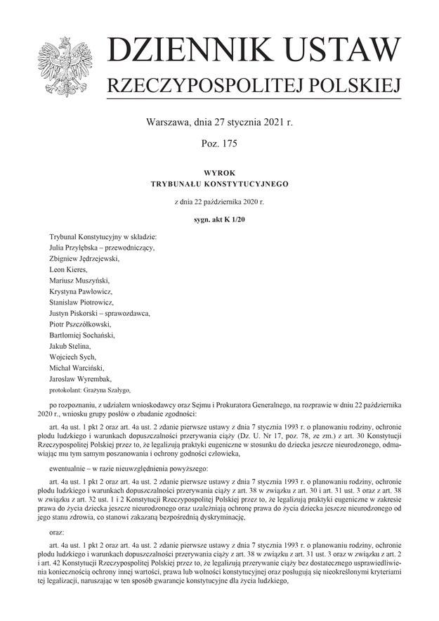 Wyrok Trybunały opublikowany w Dzienniku Ustaw /RMF FM