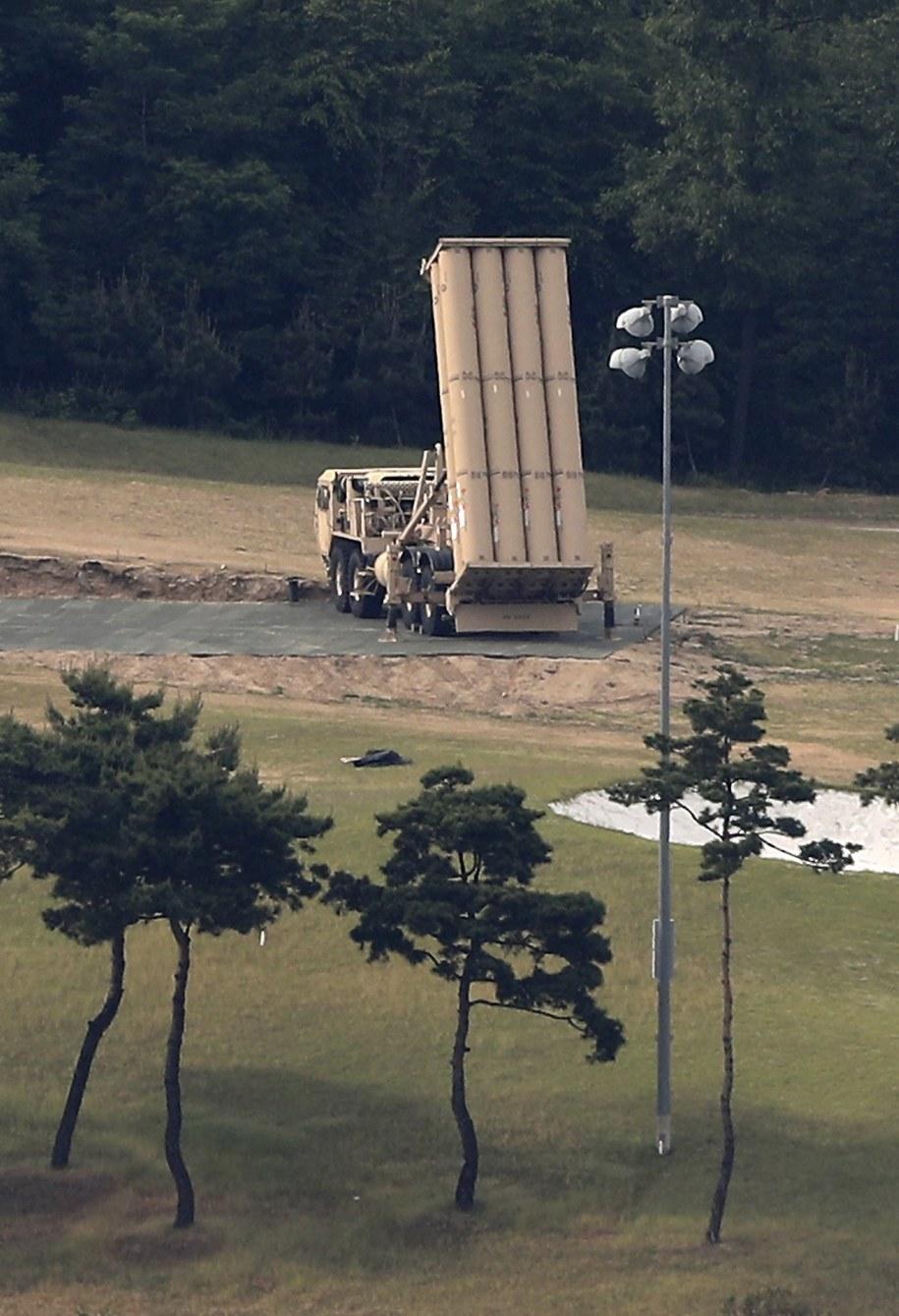 Wyrzutnia rakiet amerykańskiego systemu THAAD /YONHAP   /PAP/EPA