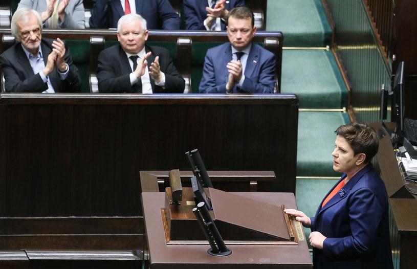 Wystąpienie premier Beaty Szydło podczas posiedzenia Sejmu /Paweł Supernak /PAP