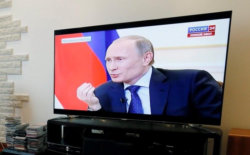 Wystąpienie Putina ttransmitowane przez telewizję /YURI KOCHETKOV /PAP/EPA