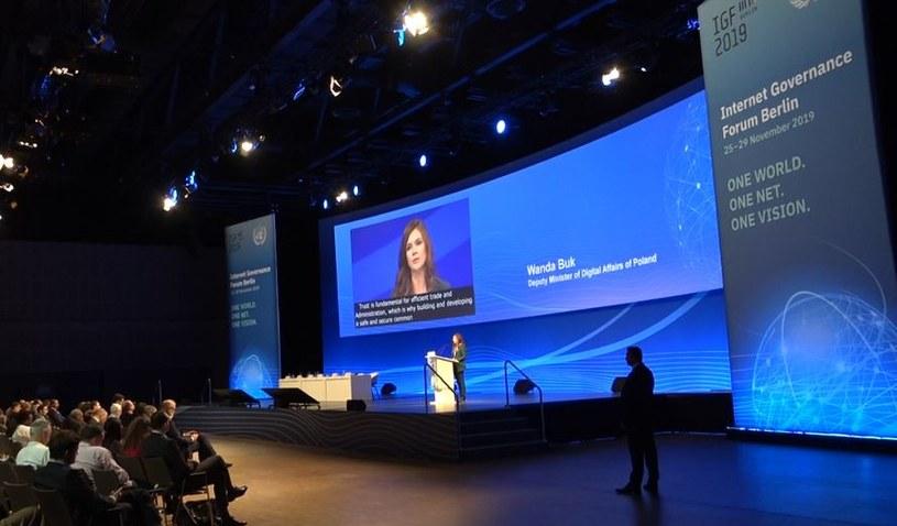 Wystąpienie Wandy Buk, wiceminister cyfryzacji podczas 14. Światowego Forum Zarządzania Internetem w Berlinie /INTERIA.PL
