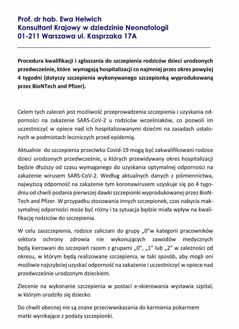 Wytyczne w sprawie szczepień rodziców wcześniaków /Krajowa Konsultant w dziedzinie Neonatologii