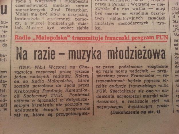 """Wzmianka w """"Życiu Warszawy"""" z 15 stycznia 1990 /arch. RMF"""
