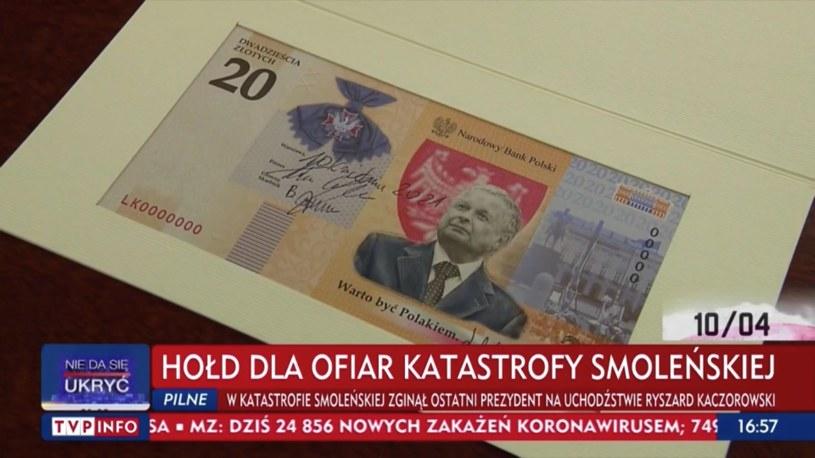 """Wzór 20-złotowego banknotu kolekcjonerskiego """"Lech Kaczyński. Warto być Polakiem"""" /Źródło: tvp.info /"""