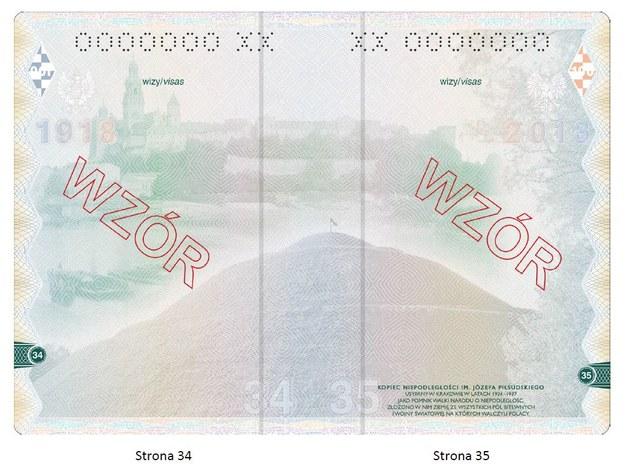 Wzór wnętrza nowego paszportu /Materiały prasowe