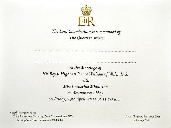 Wzór Zaproszenia Na ślub Kate I Księcia Williama Zdjęcia Pomponikpl