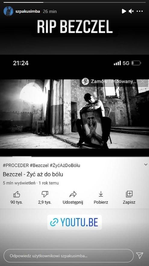 Wzruszający gest Szpaka po śmierci Bezczela /Instagram /materiał zewnętrzny