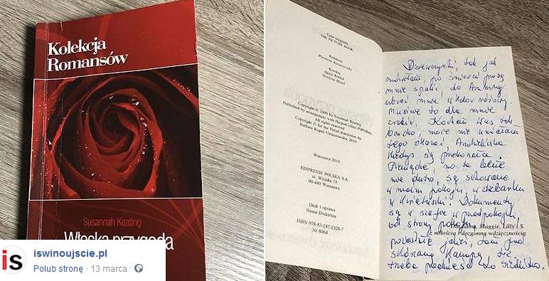 Wzruszający list pożegnalny zapisany na kartach książki /Źródło: iswinoujscie.pl /facebook.com