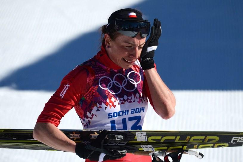 Wzruszona Justyna Kowalczyk po triumfie w Soczi /AFP
