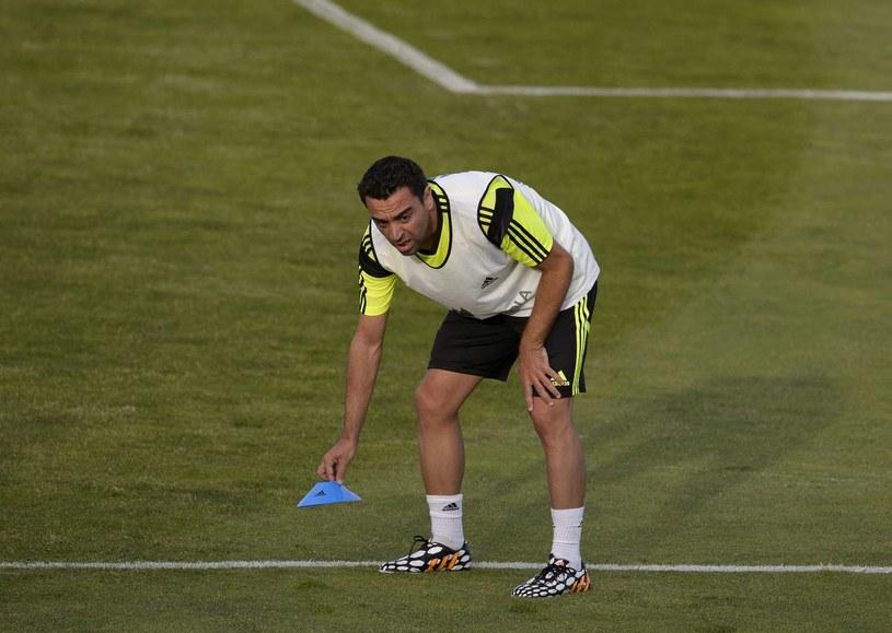 Xavi podczas zgrupowania reprezentacji Hiszpanii /AFP