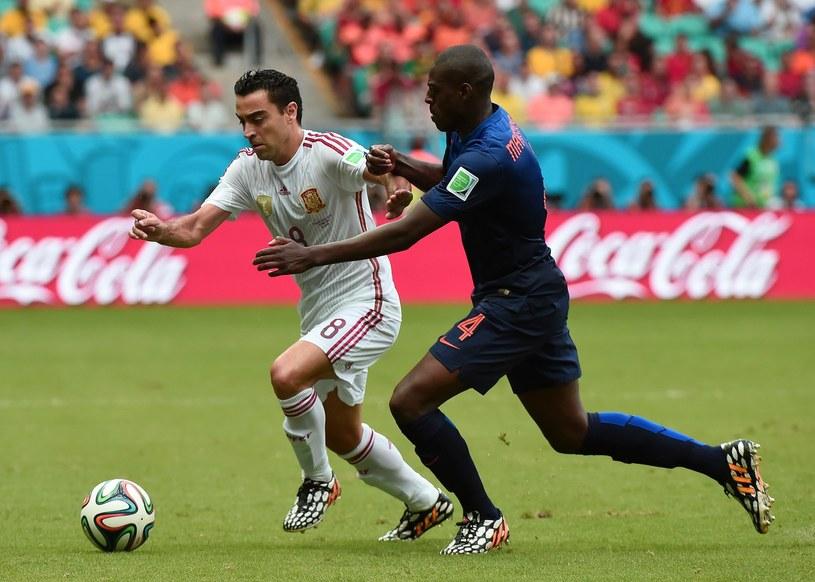 Xavi w czasie meczu MŚ w Brazylii przeciwko Holandii /AFP