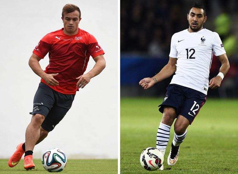 Xherdan Shaqiri (Szwajcaria, z lewej) i Dimitri Payet (Francja) /AFP