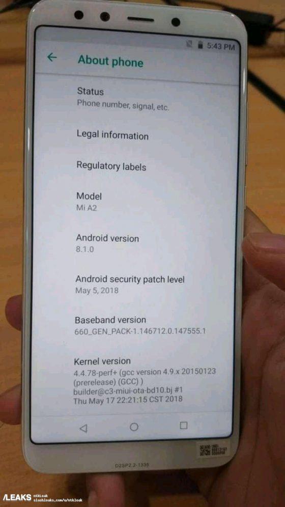 Xiaomi Mi A2 / fot. Slashleaks /materiał zewnętrzny
