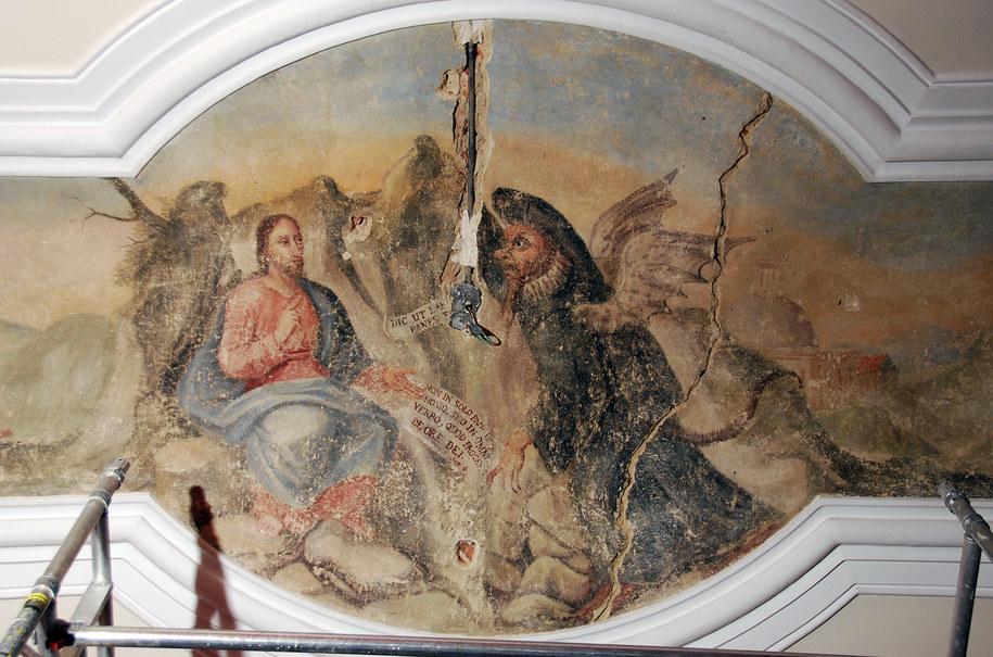 XVIII-wieczny fresk przedstawiający kuszenie Chrystusa odkryto na suficie jednej z sal Urzędu Miasta. /Urząd Miasta w Poznaniu /Materiały prasowe