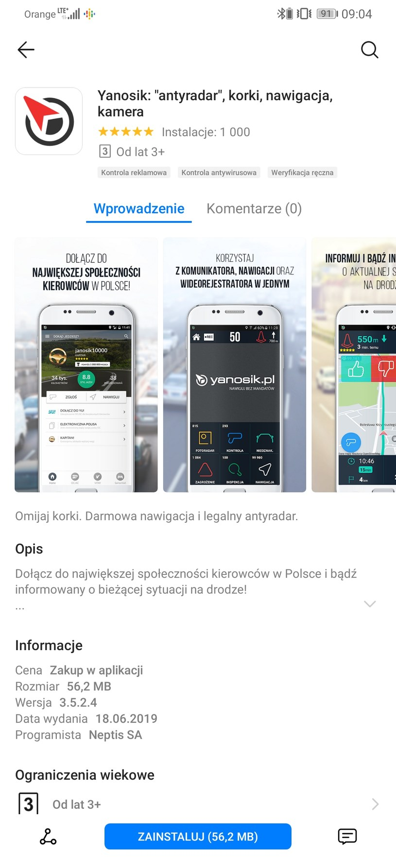 Yanosik w AppGallery /INTERIA.PL