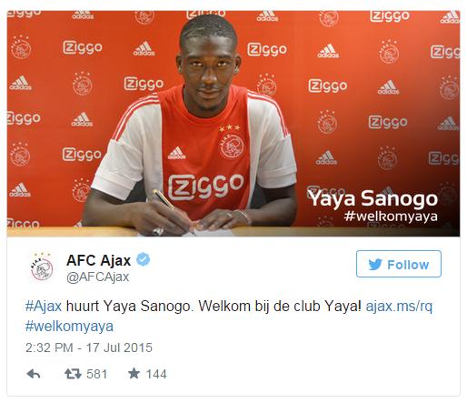Yaya Sanogo podpisał umowę z Ajaksem. Źródło: https://twitter.com/AFCAjax /Twitter /INTERIA.PL