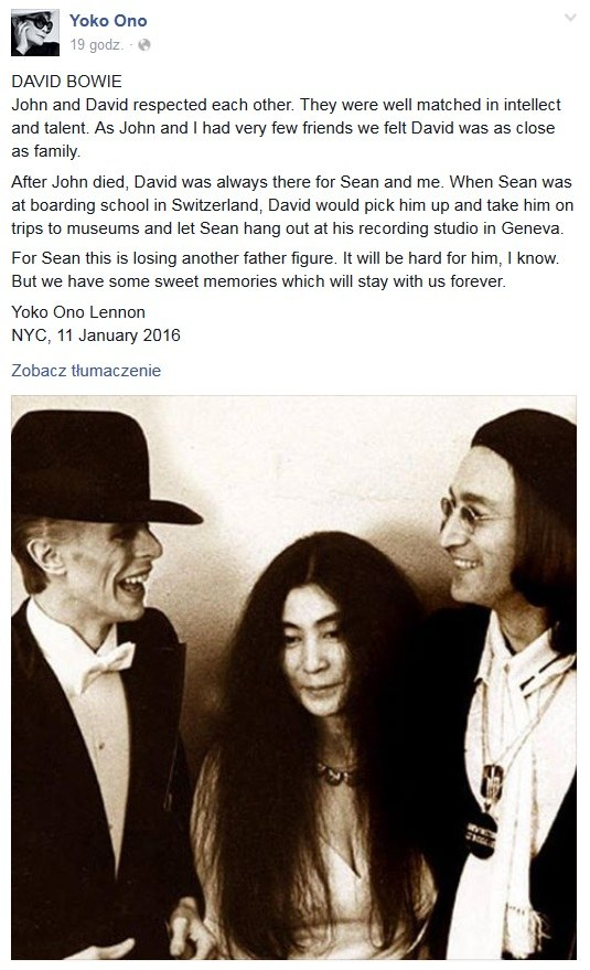 Yoko Ono z Johnem Lennonem i Davidem Bowiem / Facebook /&nbsp /