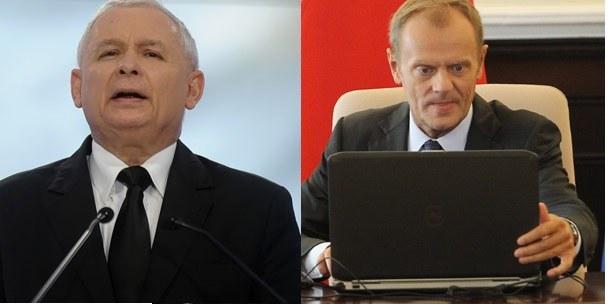 Z lewej Jarosław Kaczyński (fot.Mateusz Jagielski/East News), z prawej - Donald Tusk /Radek Pietruszka /PAP
