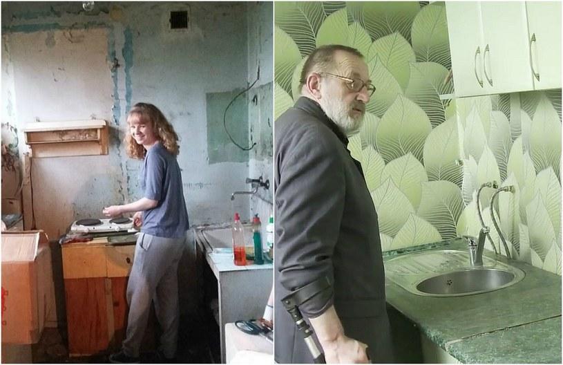 Z lewej - kuchnia na początku remontu, z prawej - Zbigniew Kruk-Strzeboński w odnowionym już pomieszczeniu. /INTERIA.PL