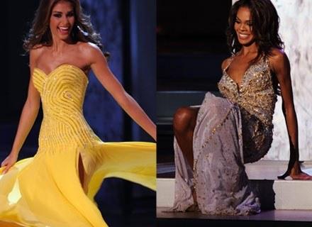 Z lewej: nowa Miss Universe, z prawej: upadek Miss USA. Nha Trang, 14 lipca 2008 /AFP
