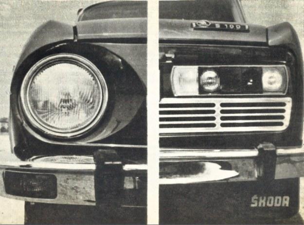 Z LEWEJ Samochód otrzymał duże okrągłe reflektory o średnicy 160 mm; kierunkowskazy migające znalazły się w zderzaku samochodu. PO PRAWEJ Zblokowane tylne lampy samochodu. /Skoda