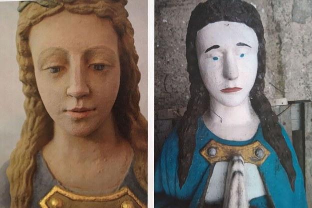 Z lewej strony odnowiona figura, z prawej figura przed odnowieniem /Facebook