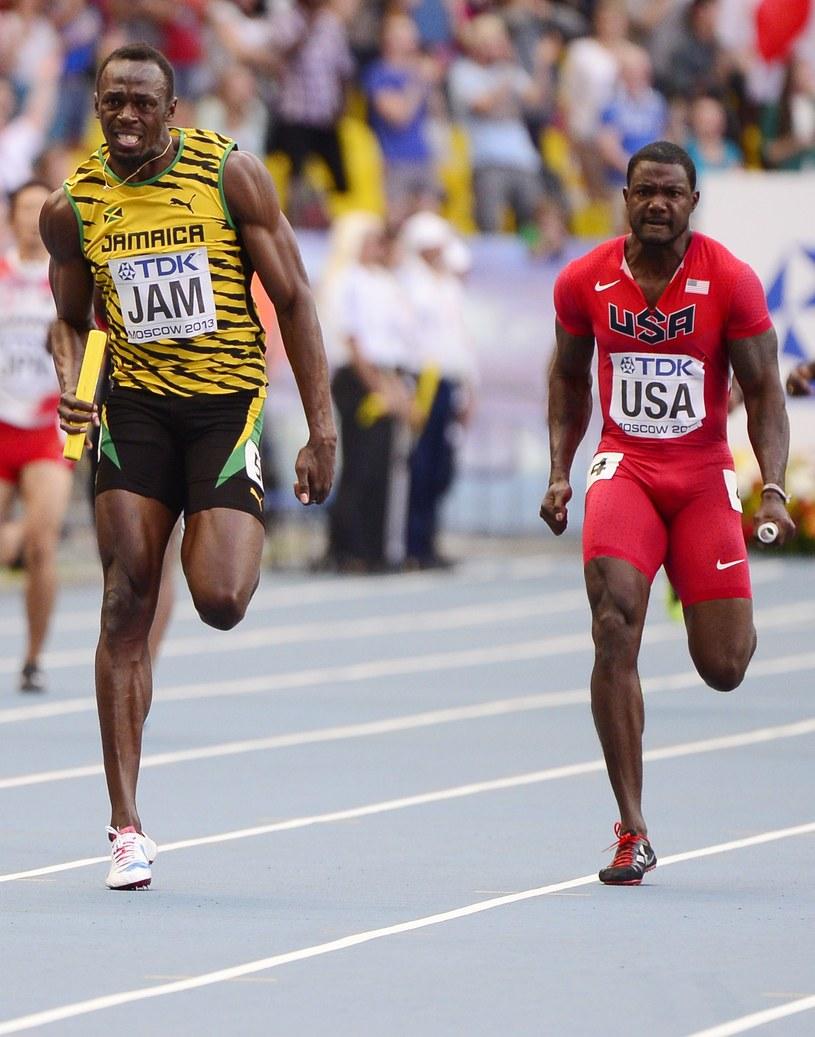Z lewej Usain Bolt, z prawej Justin Gatlin /AFP