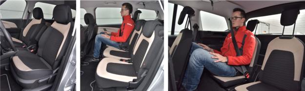 Z przodu: fotele dobrze wyprofilowane. Z tyłu: płaskie, ale za to dość szerokie. 3. rząd: nie brak miejsca nad głową, ale żeby uzyskać przestrzeń na nogi, trzeba przesunąć fotele 2. rzędu. /Motor